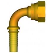"""INSERTO 90° A PRESSARE TUBO 1/4"""" FEMMINA 3/8"""" - GAS"""