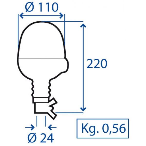 GIROFARO MICROBOULE INNESTO FLESSIBILE 12V COMPLETO DI LAMPADA ALOGENA